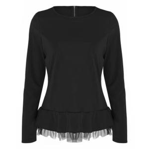 Round Neck Frilled Hem Full Sleeves Blouse Top - Black