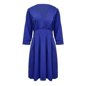 Frock Style V Neck Party Formal A-Line Midi Dress - Blue