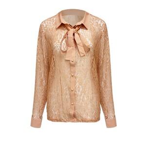 Shirt Collar Floral Textured Women Fashion Blouse Top - Apricot