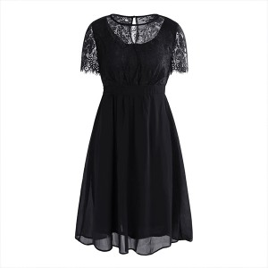 Flared Thin Fabric Lace Textured Elegant Party Dress - Black