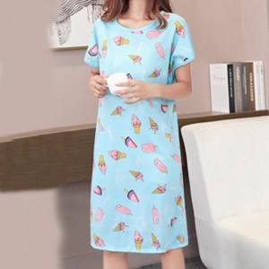 Short Sleeve Cute Cartoon Nightdress Nightgown One-Piece Home Wear