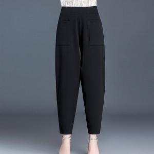 Solid Color Narrow Bottom Women Fashion Trouser - Black