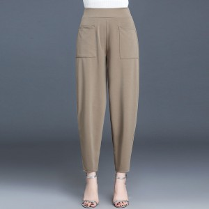 Solid Color Narrow Bottom Women Fashion Trouser - Coffee