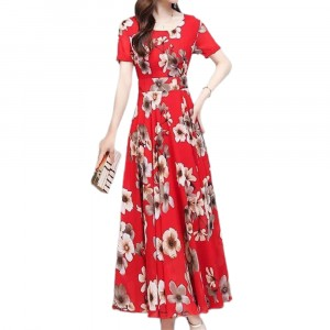 Round Neck Floral Printed Maxi Dress - Red