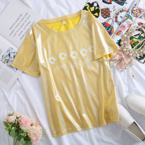 Round Neck Shiny Casual Wear Summer T-Shirt - Yellow
