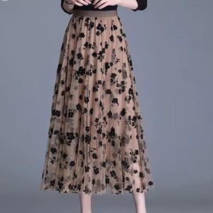Elastic Waist Printed Thin Fabric Midi Skirt - Coffee