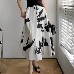 Printed Split Hem Party Wear Skirt - White