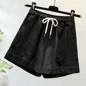 String Closure Solid Color Mini Bottom Shorts - Black