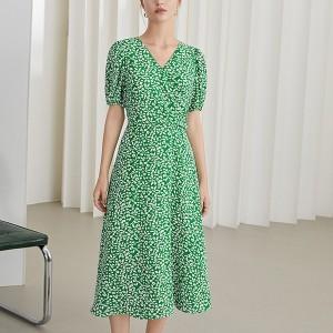 V Neck Short Sleeves Floral Printed Dress - Green