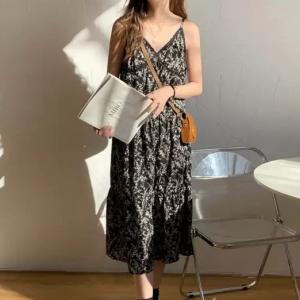 Sleeveless Spaghetti Strap Printed Midi Dress