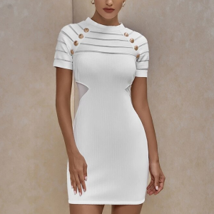 Stripes Print Decorative Bodycon Mini Dress - White