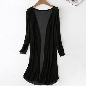 Solid Color Thin Fabric Outwear Cardigan - Black