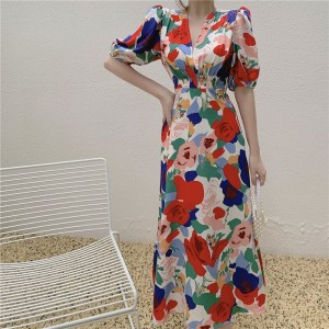 Floral Printed A-Line V Neck Beach Dress - Red