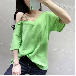 Lace Patched Contrast Loose Wear Top - Green