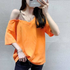 Lace Patched Contrast Loose Wear Top - Orange