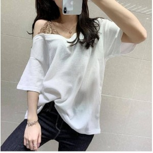 Lace Patched Contrast Loose Wear Top - White