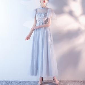 O Neck Party Wear Elegant Dress - Blue