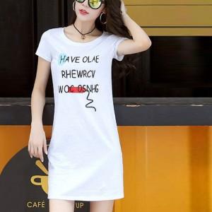 Alphabetic Print Round Neck Mini T-Shirt Dress