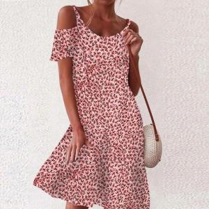 Cold Shoulder Animal Prints Mini Dress - Pink