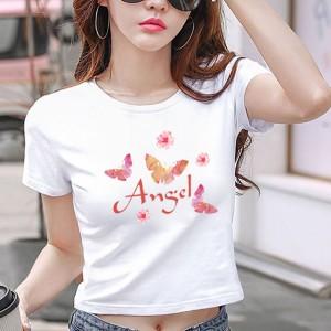 Angel Butterfly Print Round Neck Summer Crop Top - White