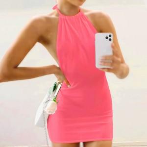 Halter Neck Solid Color Mini Dress - Hot Pink