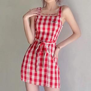 Sleeveless Square Neck Geometric Mini Dress - Red