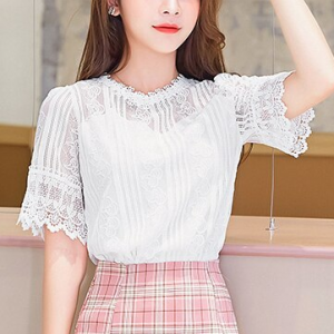 Lace Patched Floral Hollow Texture Blouse Top - White