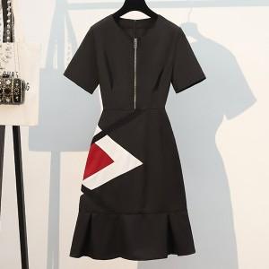 Zipper Closure Geometric Print Mini Dress - Black
