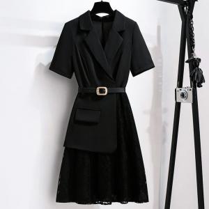 Solid Color Suit Neck Formal Mini Dress - Black