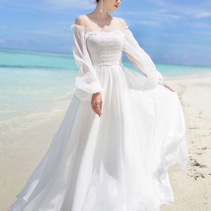 Full Sleeves Solid Color Maxi Dress - White