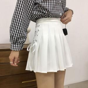Side Lace Closure Pleated Mini Skirt - White