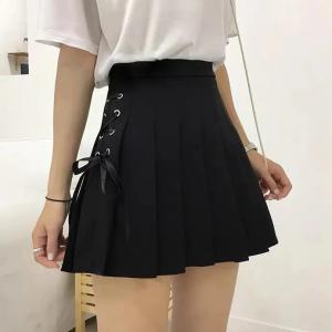 Side Lace Closure Pleated Mini Skirt - Black