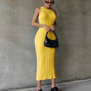 Halter Neck Thread Art Body Fitted Midi Dress - Yellow
