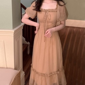 Ruffled Square Neck Solid Color Doll Style Midi Dress - Khaki