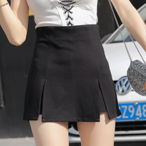 Solid Color Split Hem Mini Skirt - Black