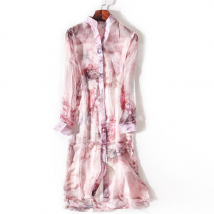 Stand Neck Outwear Floral Printed Cardigan - Pink