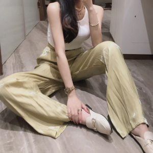 Solid Color Elastic Waist Straight Length Bottom Trouser - Yellow