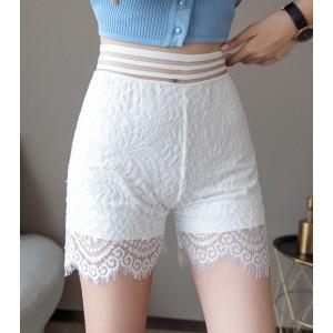 Lace Patched Tassel Fashion Women Bottom Shorts - White
