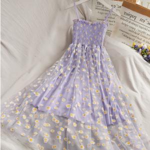 Floral Print Spaghetti Strapped Mini Dress - Purple