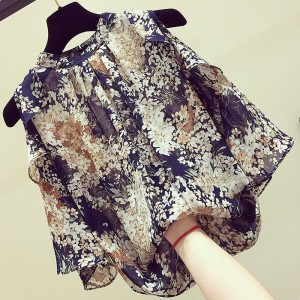 Thin Floral Round Neck Summer Blouse Top - Multicolor
