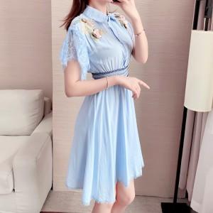 Laced Sleeves Shirt Collar Fancy Mini Dress - Blue