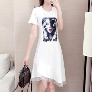 Digital Girl Print Round Neck Irregular Dress - White