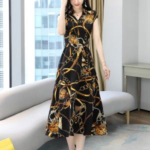 Designers Digital Print Trendy Midi Dress - Black