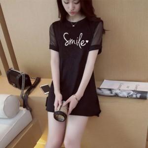 Smile Printed Round Neck Short Sleeves Top - Black