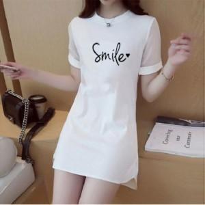 Smile Printed Round Neck Short Sleeves Top - White