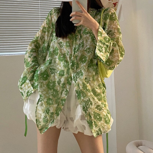 Floral Printed Button Up Summer Fashion Loose Shirt - Green
