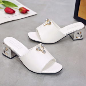 Crystal Patched Square Heel Casual Sandals - White