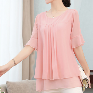 Pleated Round Neck Flare Sleeves Blouse Top - Pink