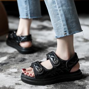 Velcro Closure Patchwork Flat Wear Slipper Sandals - Black