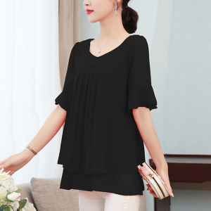 Pleated Round Neck Flare Sleeves Blouse Top - Black